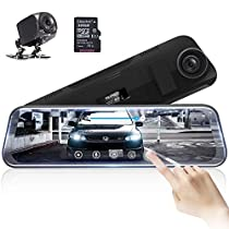 AKASO Full HD 1080P Mirror Dash Cam 10 Stream Media Full Touch Screen,Dash Cam Front and Rear View Backup Camera with G-Sensor Night Vision Parking Monitor Included 32GB Card (DL9)