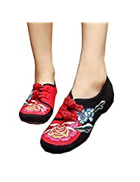 ZYZF Women Chinese Casual Embroidered Dancewear Oxfords Rubber Sole Mary Jane Walking Shoes