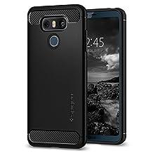 LG G6 Case, Spigen Rugged Armor - Resilient Shock Absorption and Carbon Fiber Design for LG G6 (2017) - Black
