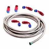6AN 12 Ft Universal Premium Braided Stainless Steel Fuel Line Filler Feed Hose W/6pcs Rotary Swivel Hose Ends Kit