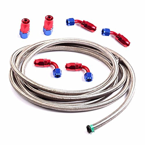 6AN 12 Ft Universal Premium Braided Stainless Steel Fuel Line Filler Feed Hose W/6pcs Rotary Swivel Hose Ends Kit 6an Stainless Braided Hose