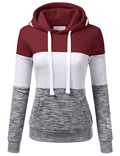 Doublju Basic Lightweight Pullover Hoodie Sweatshirt For Women Burgundy Large