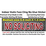 2X Pretty and best reviewed indoor static face cling on glass NO SOLICITING window decal sign sticker! Vivid red color like a stop sign, transparent to fit any background.