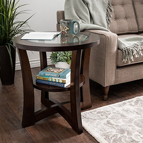 (Open End Table Provides Elegant Style And Modern Functionality. 24-Inch Round Side Sofa Piece Features A Clear Glass Top And A Lower Storage Shelf. Espresso Brown Wood Table Suitable For)