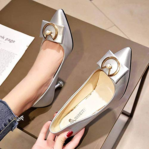 Fashion Pumps Middle Heels with Single Shoes Pointed Head Thin Heels Women  Shoes Silver f14786642ba