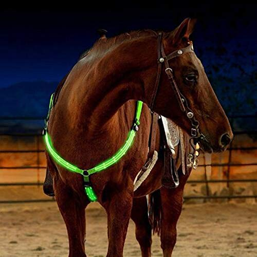 Love Environment LED Horse Collar Bridle Halter Visibility Tack Horse Riding Equestrian Safety Gear in Night Horse LED Breastplate Collar Lights