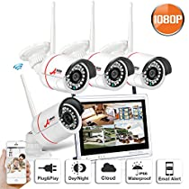 Home Security Camera System Wireless Outdoor 4 HD 1080P Cameras 12 Inch Monitor NVR Night Vision Remote Access Motion Detection No Hard Drive SWINWAY Anran