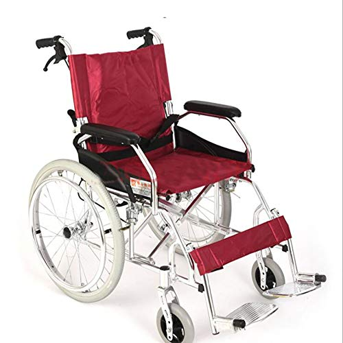 GAOJIN Wheelchair Foldable,Lightweight Mobility Device,Manual Transport Chair,Adjustable Foot Pedal Double Bar Reinforcement,backrest Foldable Comfortable Breathable Cushion