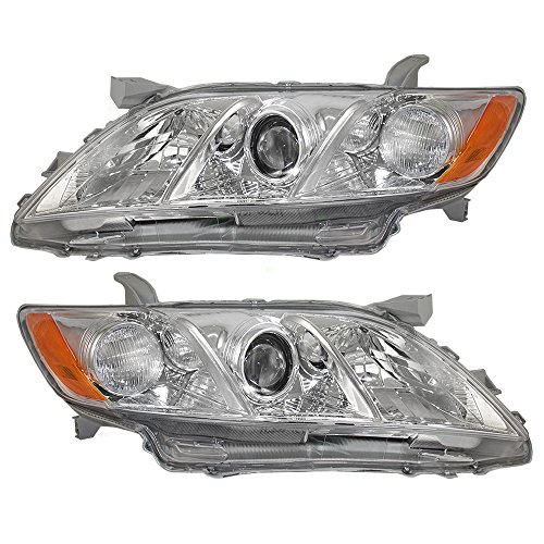 Driver and Passenger Headlights Headlamps with Clear Lens Replacement for Toyota 8117006202 8113006201 (Toyota Camry Replacement Headlight)