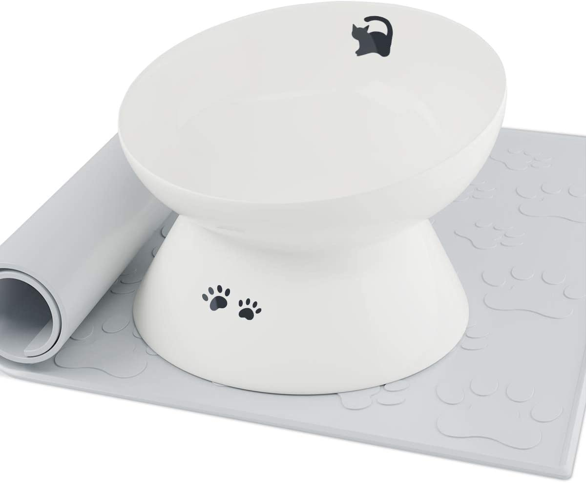 immaculife Ceramic Raised Cat Food Bowl with Anti-Slip Mat, Slanted Cat Dish, Tilt Angle Protect Cat's Spine, Stress Free, Backflow Prevention