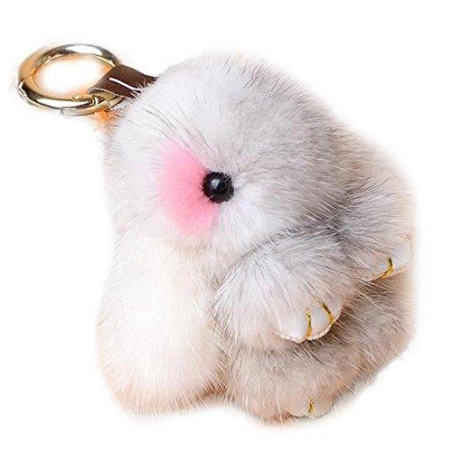 Manka Vesa Cute Mini Mink Fur Rabbit Doll Key Chain for Women Bag Charms Car Keyring White 1