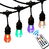 AQLighting LED Wireless Controlled Color Changing Waterproof Outdoor String Lights with Hanging Sockets – Dimmable 0.5-Watt Bulbs – 48 Ft LED Edison Style Bulb with Remote Control and Weatherproof 18