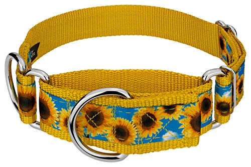 Country Brook Petz – 1 1/2 Inch Sunflowers Signature Martingale Dog Collar – Each Collar You Buy, a Collar is donated to a shelter (1 1/2 Inch, Medium)