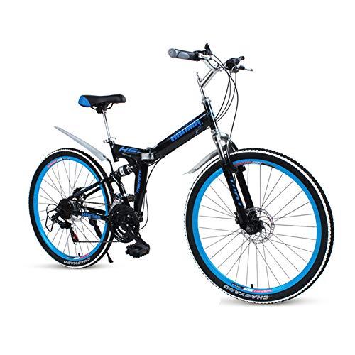 LETFF Bicicleta Plegable para Adultos De 26 Pulgadas, 27 Frenos De Disco De Velocidad Doble Amortiguadores para Hombres Y Mujeres Y Estudiantes De Bicicleta ...