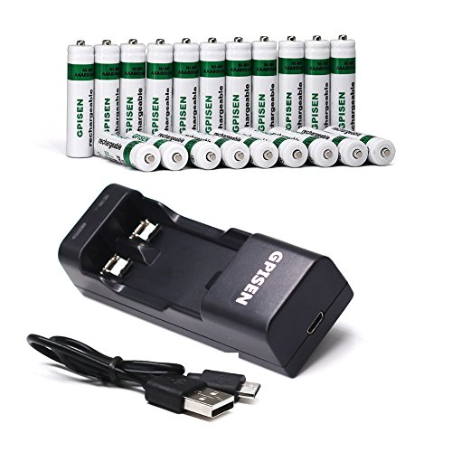 GPISEN Rechargeable Batteries NI-MH AAA 800mAh 20 Pack with USB Portable Charger (2 Bay / slot) for Ni-MH/Ni-Cd Battery