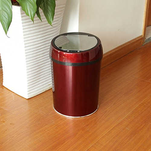 Fashion creative electronic sensor dustbin wine red mirror covers stainless steel induction dustbin 9L ?240×350mm,Wine Red by Vory