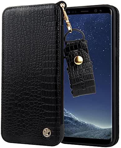 Leather Wallet Phone Case, Credit Card Holder Slim Keychain Cover With Mirror for Iphone