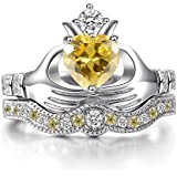 by lucky Women Fashion 925 Silver Ruby Citrine Sapphire Claddagh Bridal Wedding Ring Set (8)