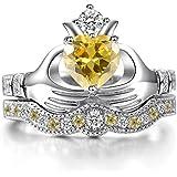 by lucky Women Fashion 925 Silver Ruby Citrine Sapphire Claddagh Bridal Wedding Ring Set (9)