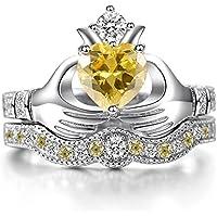 Women Fashion 925 Silver Ruby Citrine Sapphire Claddagh Bridal Wedding Ring Set (7)