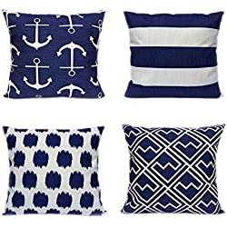 4 Pack FanHomcy Cushion Covers Simple Geometric Decorative Throw Pillow Cases for Sofa 18 x 18 Inch, 1x Anchors + 1x Dots + 1x Stripe + 1x Shakes ( Navy Blue)