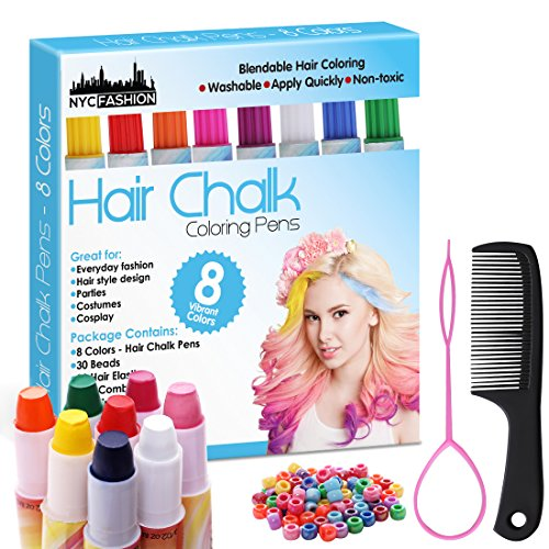 Hair Chalk Pens Set of 8 Colors -Safe for Hair & Skin, Comb, Beads, Hair Beading Tool for Braids - Add Flair of Colorful Streaks to Your Hair (Plain Colors) (Plain Colors) ()