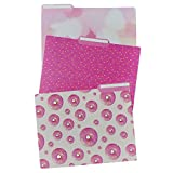 Set of 3 Pink Donut Sprinkle Design Decorative Top Tabbed File Folders