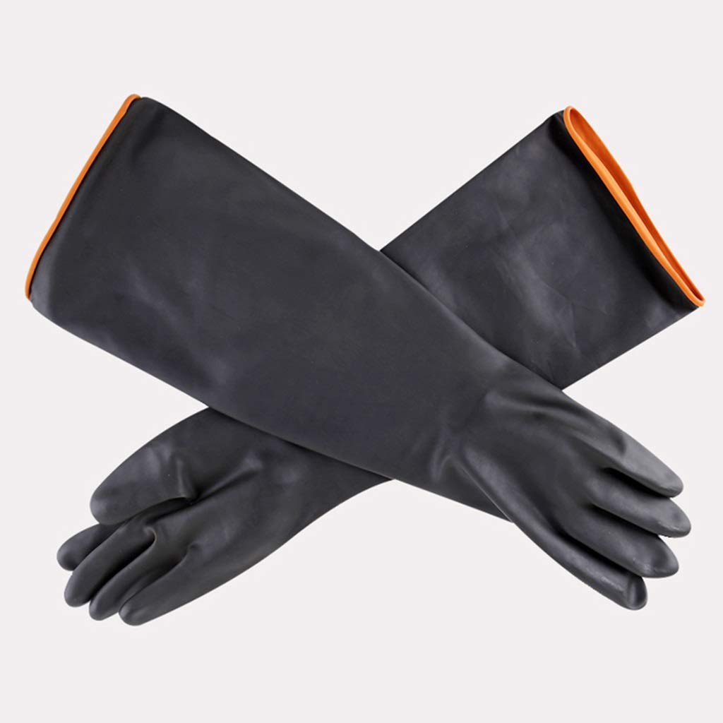 Waterproof Rubber Gloves, Acid and Alkali Resistant Rubber Wear Resistant Chemical Gloves, A Pair FKYGDQ (Size : 55×12cm)