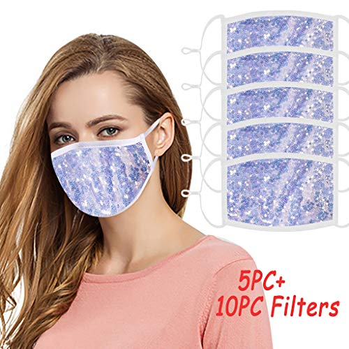 WFeieig 5PC Fashion Sequin Face Bandana with 10PC Filter Washable Reusable Anti Dust Protection For Women Men