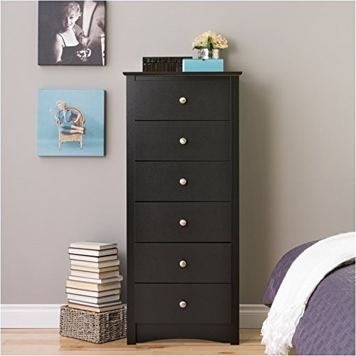 Pemberly Row 6 Drawer Lingerie Chest in Black Finish