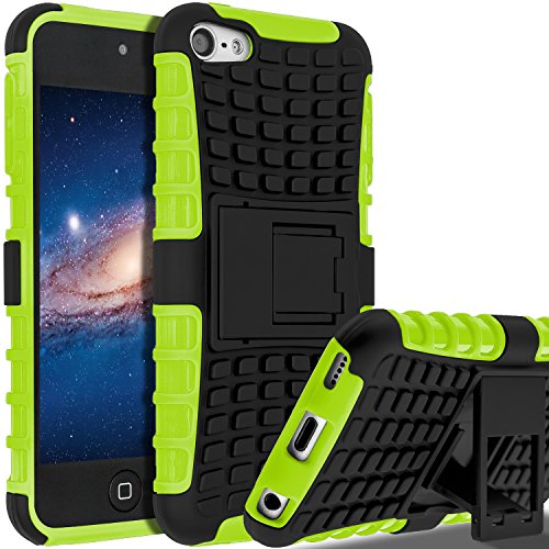 Green Touch Ipod (iPod Touch 6 Case,iPod Touch 5 Case, SLMY(TM) Heavy Duty Dual Layer Shockproof / Impact Resistance Hybrid Rugged Cover Case with Built-in Kickstand for Apple iPod Touch 5 6th Generation Green)