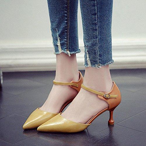 De verde Con Colilla Adolescentes Alto El El Primavera Zapatos Comienzos GAOLIM Heel Una La Zapatos Fina De Shoes A Mujer Solo Ranurados Para Señaló qgw0ZF