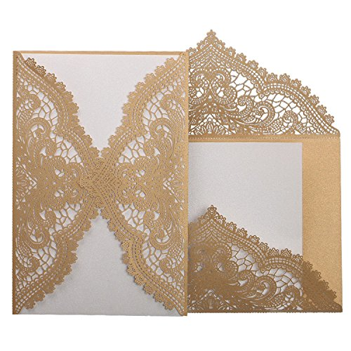 24pcs Vintage Wedding Invitations Cards with Laser Cut lace Flower for Bridal Shower,Engagement,Anniversary or other Event Ideas
