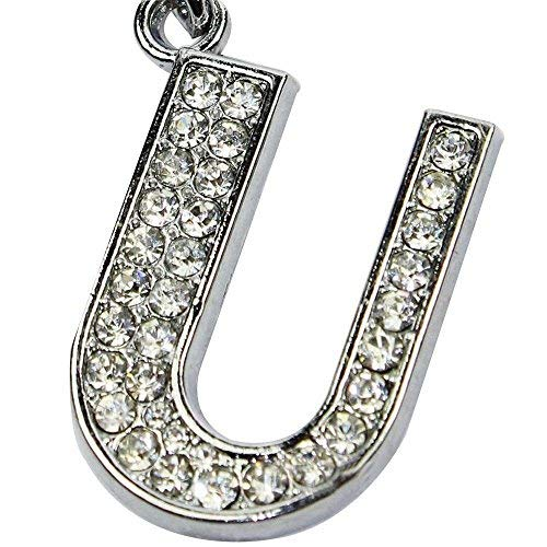 Alphabet Keychain,Crytech Delicate Cubic Zirconia Sparkly Rhinestones A-Z Initials Letter Keyring Ring Shiny Silver Key Chain for Women Men Cellphone Car Keys Pendant Charm Backpack Accessories (U)