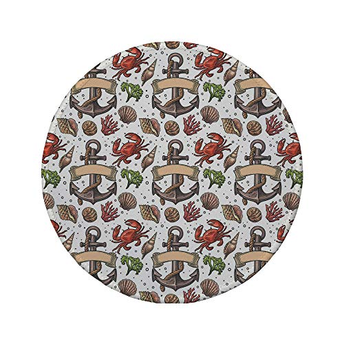 Non-Slip Rubber Round Mouse Pad,Anchor,Sea Shell Coral Crab and Anchor with Ribbon and Rope Vintage Aquatic Composition Decorative,Multicolor,7.87
