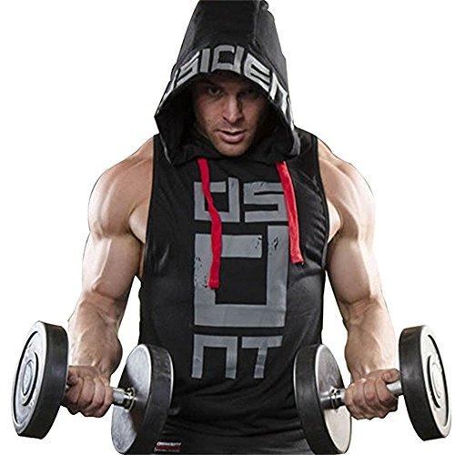 Better Body Gym Hoodie Men Bodybuilding Stringer Tank Top Muscle Sleeveless Shirt (XL, Black)