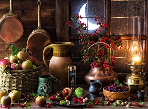 Leowefowa Vinyl 9X6FT Barn Backdrop Apples Red Berry Lantern Nuts Basket Shining Moon Night Gloomy Stripes Wood Board Autumn Harvest Interior Photography Background Kids Adultls Photo Studio (Lantern Moon Baskets)