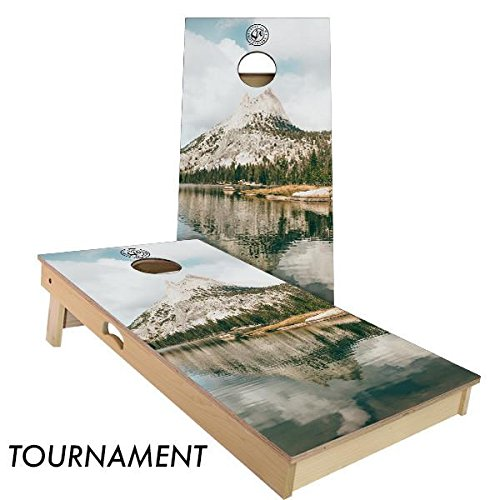 Slick Woody's Mountain Lake Cornhole Board Set 4' by 2' Tournament size by Slick Woody's Cornhole Co.