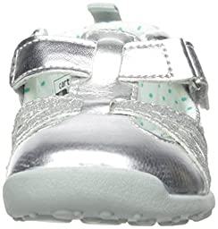 Carter\'s Every Step Stage 3 Girl\'s Walking Shoe, Clio(Toddler), Silver/Teal, 5 M US Toddler