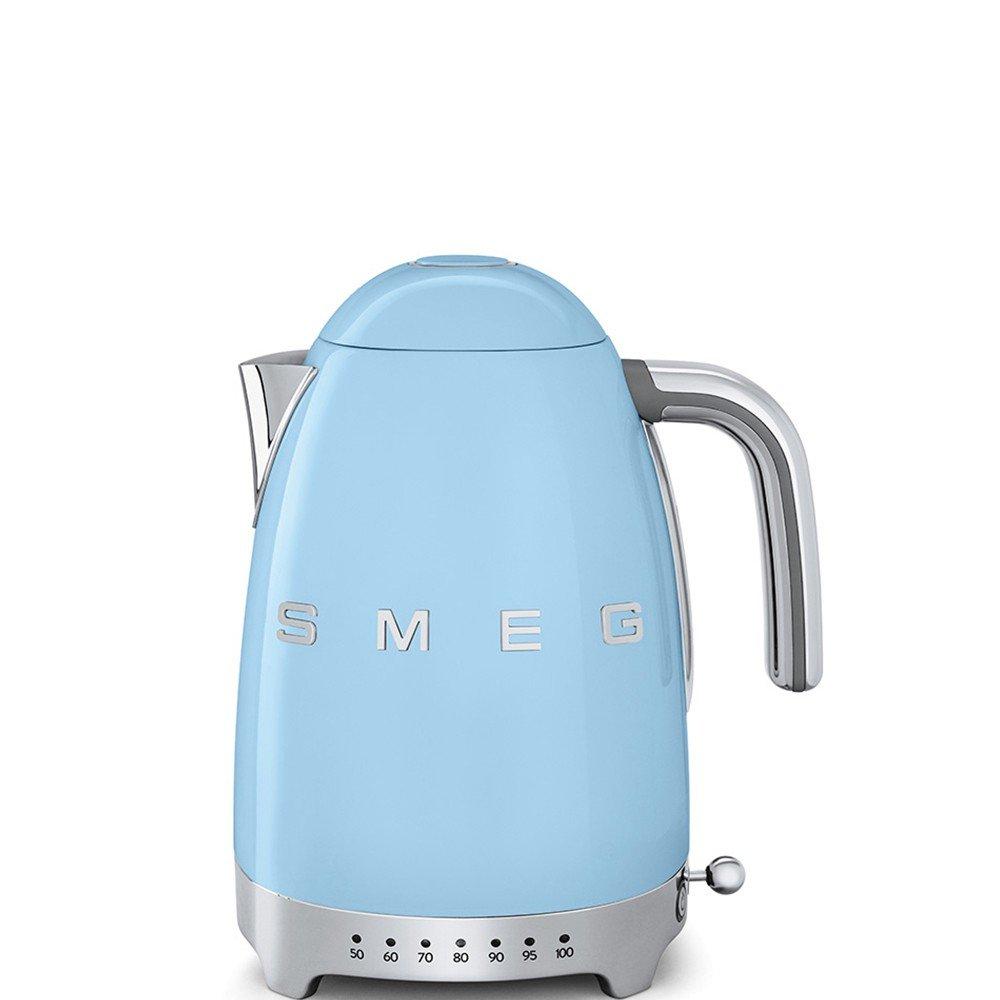 SMEG Calentador de Agua electrico, hervidor KLF04PBEU, 2400 W, 1.7 litros, De plástico, Acero Inoxidable, Azul Pastel