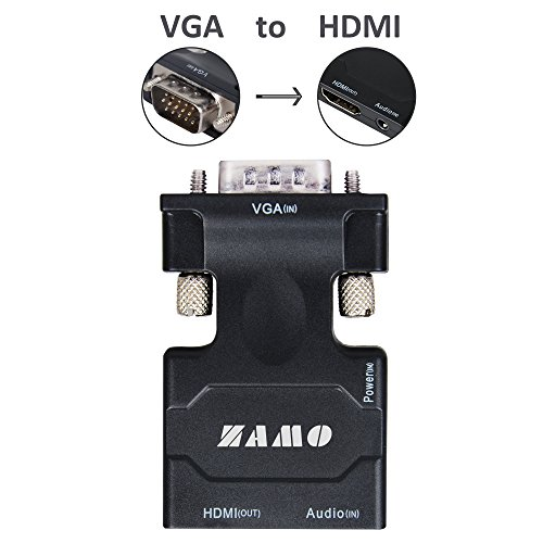 ZAMO VGA to HDMI Converter Adapter for TV, Computer, Projector, with Audio Cable and USB Cable, HD Connector Converter, Plug and Play with Portable Size