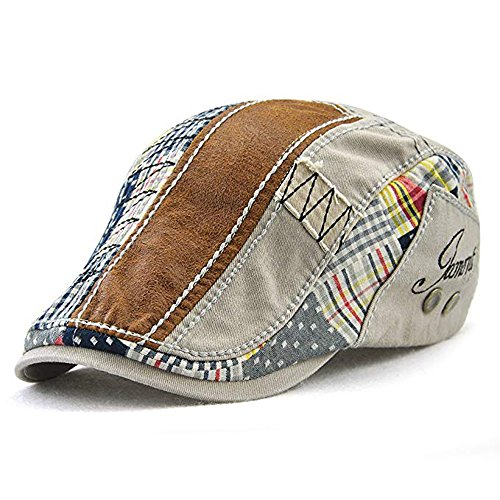 (Men Beret Hat Cotton Adjustable Newsboy Hats Cabbie Gatsby Cap,Grey)