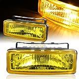 "Universal 5"" x 1.75"" Square Chrome Housing Yellow Front Driving Bumper Fog Light Lamps"