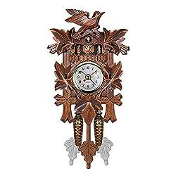 Xigeapg Vintage Home Decorative Bird Wall Clock Hanging Wood Cuckoo Clock Living Room Pendulum Clock Craft Art Clock for New House (Brown #2)