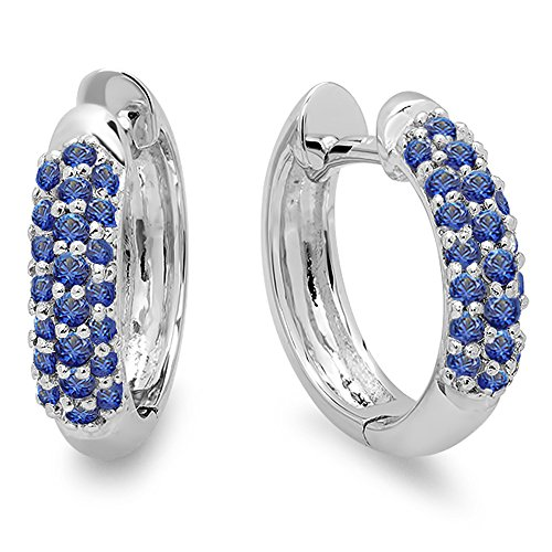 Blue Sapphire Gold 18k Ring - 0.30 Carat (ctw) 18K White Gold Round Blue Sapphire Ladies Pave Set Huggies Hoop Earrings 1/3 CT