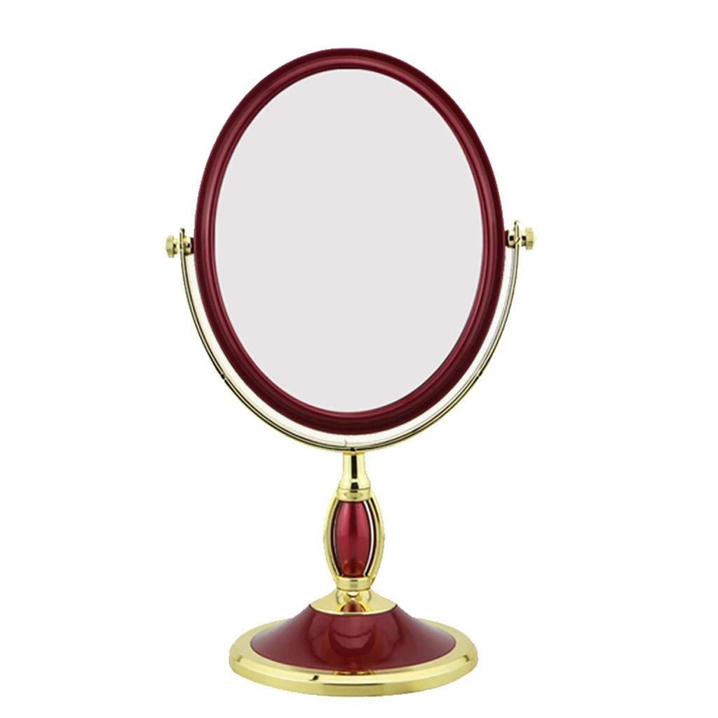 TLMYDD Desktop Wine Red Rotating Double-Sided Dressing Magnifying Glass Fashion Wedding Beauty Mirror Multi-Size Cosmetic Mirror (Size : S)