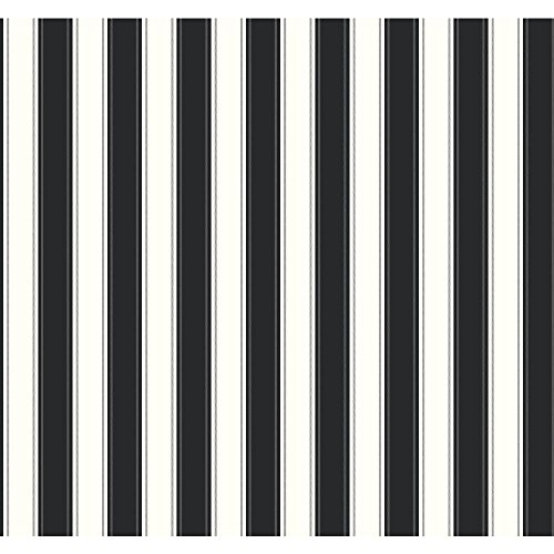 York Wallcoverings SA9159 Ashford Stripes Silk Stripe Wallpaper, Black/White
