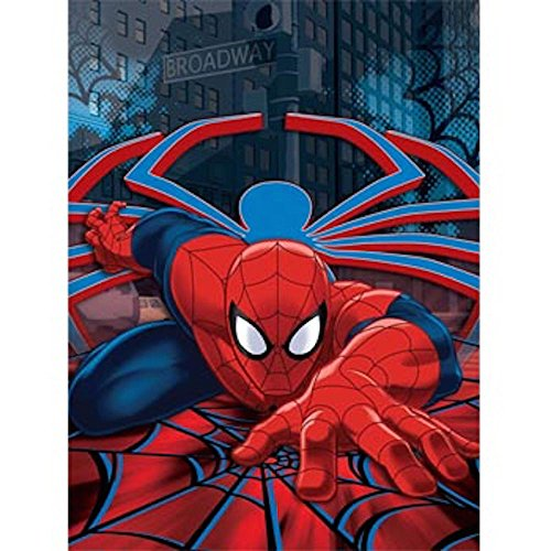 Marvel Spiderman Plush Throw Blanket, Web Crawler Design, 60x80 inches, Red