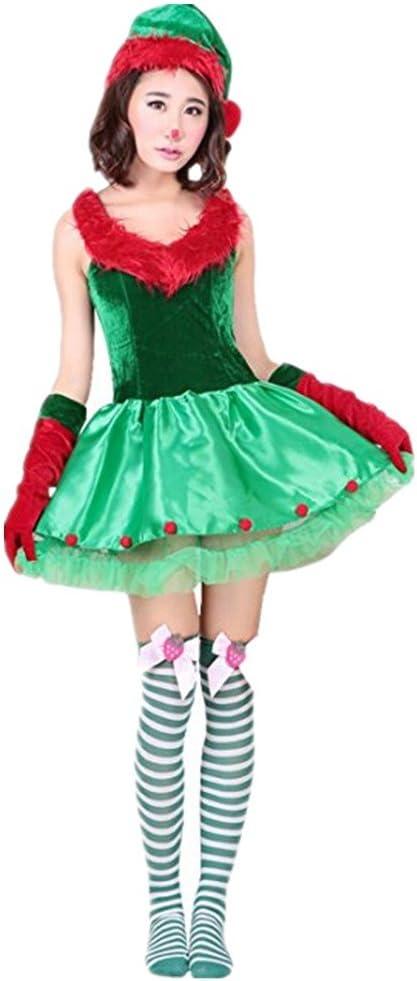 Prettycos Disfraz de Duende para Mujer Árbol de Navidad Christmas ...