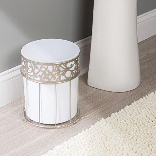 Mdesign Decorative Round Small Trash Can Wastebasket